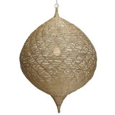 "Strands of rattan core are artfully woven around Moorish inspired wire frames. Comes with UL approved socket and soft cord single bulb pendant kit. 3mm natural rattan core. White painted loop handle. Opening in top 4""x3"" triangular shaped."