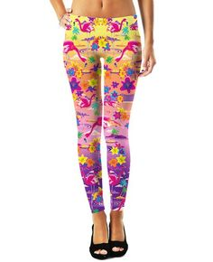 RageOn has teamed up with Lisa Frankto bring you a new line of officially licensed, all-over-print apparel! Look like a tropical dream in these FlamingoLeggin