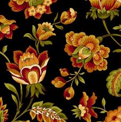 Bonsoir Flannel - rust/gold/green Jacobean design flowers/leaves/buds/vines on black background R28 3957 0212