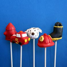 20 Firefighter Cake Pop Assortment with Fire Truck, Fire Hat, Fire Hydrant, Dalmatian Fire Dog, & Fireproof Boot for birthday, party favors. $67.00, via Etsy.