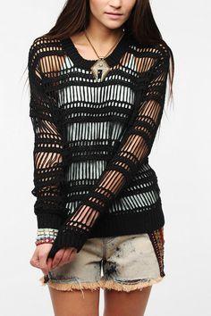 byCORPUS Vertical Net Mesh Sweater