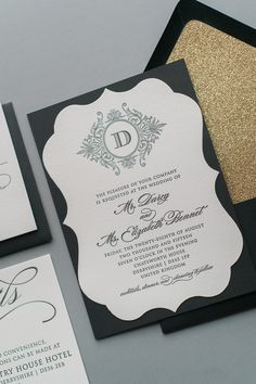 ABIGAIL Suite Fancy Ornate Package, black and gold, gold glitter, black letterpress, die cut invitations, letterpress wedding invitations, unique shaped invitations