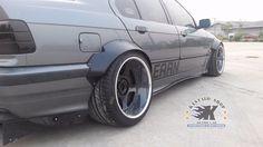 "JDM V2.Fender Flares Wheel Arch for BMW E36 SEDAN made from sheet metal 1/32"" #KSHOP"