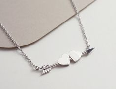 Arrow necklace, heart necklace, minimal necklace, best friend jewelry