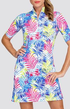 """Check out what Loris Golf Shoppe has for your days on and off the golf course! Tail Ladies Zaya 36.5"""" Elbow Sleeve Print Golf Dress - FUN IN THE SUN (Prism Palm)"""