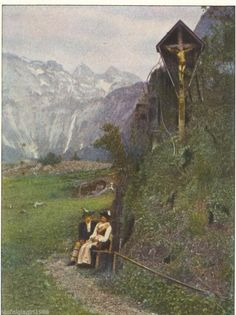 1928 Autochrome Print Germany The Obersee Swiss Alps Wayside Shrine Crucifix