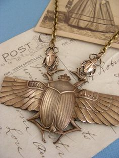 Vintage Brass Large Egyptian Scarab Necklace from chloevintagejewelry $32