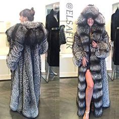 long hooded silver fox fur coat