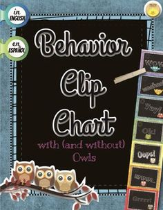 7 Step Behavior Clip Chart with 2 different choices available:  Owls or Just words. In English and Spanish! Includes a Behavior Calendar Log for parent-teacher communication (also in English, Spanish and Dual Language versions for those teachers who have parents who don't speak one or the other)