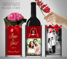 lovely centerpiece glass vase wedding favor with your personalized monogram and pre-nuptial pictures
