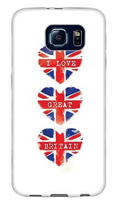 I Love Great Britain Hearts} Soft and Smooth Silicone Cute 3D Fitted Bumper Back Cover Gel Case for Samsung Galaxy S6 {Color is White, Red and Blue}