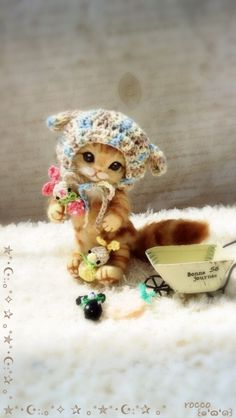 rocco + * wool felt ★ Taremimi hat of tea tiger cat ★ handmade _ image 2