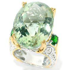 139-587 - Gems en Vogue 25.60ctw Brazilian Prasiolite & Chrome Diopside Ring
