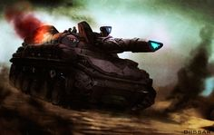 Tall, bulky tank with glowing cannon.