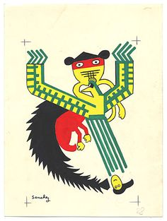 Citation: Mythological creature (Black, Green, Red, Yellow), 1951. Emilio Sanchez papers, Archives of American Art, Smithsonian Institution. Legendary Monsters, Archives Of American Art, Illustration Art, Illustrations, Mythological Creatures, Pen And Paper, Magical Creatures, Archaeology, Museums