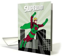 Superdad flies through the air in front of a silhouette city skyline and sunburst like a vintage comic book. His outfit is retro green and maroon with boots and a cape. Give a Superdad this cute card for Father's Day. Design © 2015 Julia Bryant.