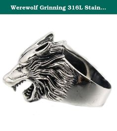 Werewolf Grinning 316L Stainless Steel Wolf Ring 2P001 Mens Biker Ring (14). 316L Stainless steel never stain, corrode, rust, oxidize or turn black !! Needn`t maintenance ! Cool present for cool Men !! Condition : 100% Brand New Material : Hightest Quality Solid 316L Stainless Steel Ring Size : US Size 7 ~ 14 Face Size : Approx. 15x 24 mm Weight : Approx. 13g.