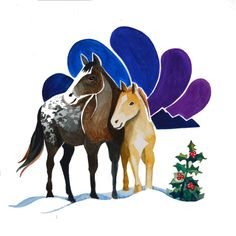Apaloosa Horses-Holiday Card  Canadian Animal Families    $5.00    From a watercolour series by Marisa Pahl.