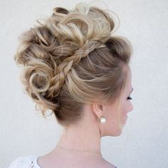 Hair & Makeup by Steph's curly braided mohawk ~ we ❤ this! moncheribridals.com