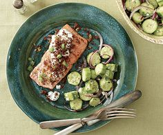 Roasted Salmon with Dill Cream and Rye Crumbs Recipe