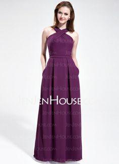 Bridesmaid Dresses - $108.99 - A-Line/Princess V-neck Floor-Length Chiffon Bridesmaid Dress (007025353) http://jenjenhouse.com/A-Line-Princess-V-Neck-Floor-Length-Chiffon-Bridesmaid-Dress-007025353-g25353