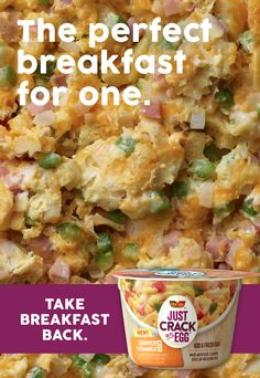 Take a good look at what good breakfast lovin' is supposed to look like. With NEW Just Crack an Egg youre just two minutes away from a hot egg breakfast packed with all the reasons you used to love it. All you have to do is just add a fresh egg microwa Ww Recipes, Low Calorie Recipes, Brunch Recipes, Cooking Recipes, Breakfast Dishes, Breakfast Recipes, Breakfast Time, Fresh Egg, Perfect Breakfast