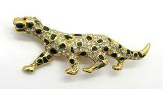 Vintage Leopard Brooch Signed Roman by LeesVintageJewels on Etsy