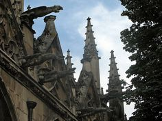 gargoyles adorning the gables of the flamboyant gothic st-severin. Latin Quarter, Church Building, The Gables, 11th Century, Place Of Worship, Romanesque, Middle Ages, Barcelona Cathedral, Nashville
