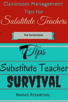 Guest post written by Rachel Friedrich ~she shares lots of substitute teacher tips and tricks | Classroom Management Tips for Substitute Teachers