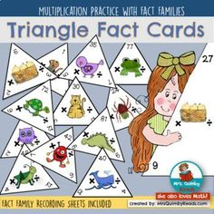 Multiplication - Fact Triangles - Fact Family Practice,math teaching resources, math class, math resources for students Math Strategies, Math Activities, Teaching Resources, Learning Multiplication, Fact Families, Primary Maths, Math Numbers, Math Stations, Math Facts