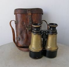 BINOCULARS in LEATHER CASE Hezzanith Made in Paris France Brass Body Telescoping Lenses Original Brown Hard Case World War One Vintage 1920s by OnceUpnTym on Etsy