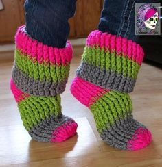 These slippers are reminiscent of the slippers my Grandma made when I was a child. They are thick, cushy, & fit like a glove. The Happy Feet Slippers are very customizable, not only in color but also in size. You can make just a simple slipper all the way up to a fold-over cuff boot. Your feet will be Happy to have these slippers!  http://www.maggiescrochet.com/products/happy-feet-slippers-crochet-pattern-download