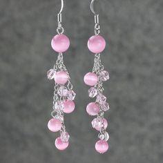 Earrings chandelier dangle pink long handmade by AnniDesignsllc, $12.95