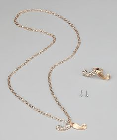 Take a look at this Gold Mustache Necklace & Ring by Rated G on #zulily today!