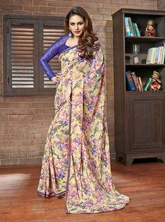 Cream & Blue Huma Qureshi Printed Lace Border Work Saree 2486 1657