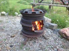 Stove out of old steel rims.  By Nick Platel