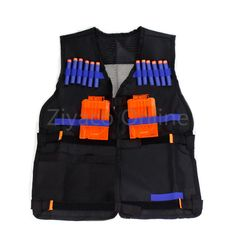 Negro Chaleco Táctico Chaleco Chaqueta Nerf Pistola de Juguete Balas Dardos N-strike Elite Clip de Titular de la Munición de Armas de fuego para Los Niños kits de viaje