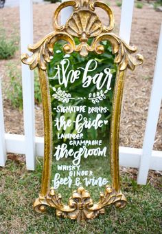Make your dinner, dessert, or cocktail menu the fairest of them all with this beautifully calligraphed mirror. Featuring an antique gold finish and baroque-style detailing, it comes custom designed and ready to display.