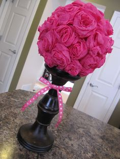 Valentine Topiary - maybe use the idea of wiffle ball with fake flowers hot glued in holes instead of making a kajillion streamer roses. Valentine Decorations, Valentine Crafts, Happy Valentines Day, Paris Party, Paris Theme, Crepe Paper Streamers, Paris Birthday, 5th Birthday, Flower Ball
