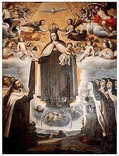 La Reina y Hermosura del Monte Carmelo, y a su lado, Teresa de Jesús y Juan de la Cruz, y sus Hijos.