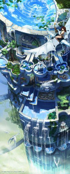 Retro Future Aerie - Mugon It's so awesome I want to go there. Fantasy City, Fantasy Places, Fantasy World, Futuristic City, Futuristic Architecture, Futuristic Technology, Environment Concept Art, Environment Design, Science Fiction Kunst