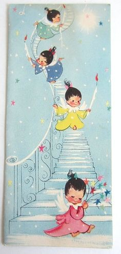 Vintage Christmas Card - Greeting Card - Baby Angels - Signed - 1940s 1950s….jpg