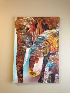Three elephants 2 - P16 This original acrylic paiting was made by Ugandan artist, Davis Muwumba.