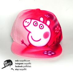 5601db77760 Pink pig Snapback Hat Baseball Cap best gift for girls Custom airbrushed  GRAFFITI hat Hand painted