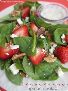 Strawberry Spinach Salad with Glazed Walnuts and Feta Cheese - add some chicken and ou've got a delicious light summer lunch!