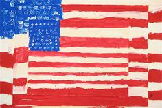 I may have to try this tomorrow for a Veterans Day art project, combined with a lesson on Jasper Johns