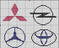 Cars logo x-stitch Knitting Charts, Knitting Patterns, Crochet Patterns, Embroidery Stitches, Embroidery Patterns, Cross Stitch Patterns, Pixel Art, Plastic Bead Crafts, Hama Beads Design