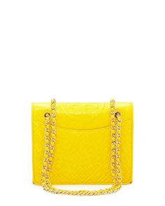 Fleming Quilted Medium Flap Shoulder Bag, Reptile Yellow by Tory Burch at Neiman Marcus.