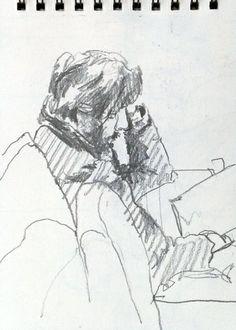 Coffee Shop Sketches - Original artwork by: http://davidhewittartist.com/ #Art #Pencil #Drawing #Figure #LifeDrawing