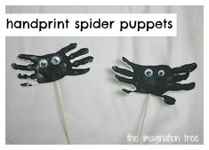 Hand-print spider puppets- great for storytelling and singing props! And many other spider themes activities too
